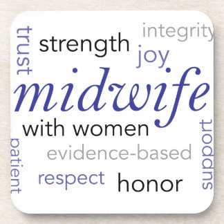midwife word cloud drink coaster