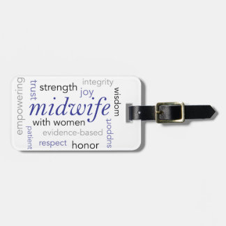 midwife word cloud luggage tag