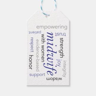 midwife word cloud pack of gift tags