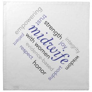 midwife word cloud printed napkins