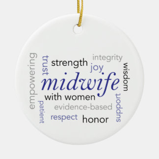 midwife word cloud round ceramic ornament