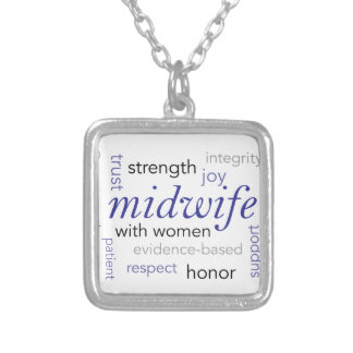 midwife word cloud silver plated necklace