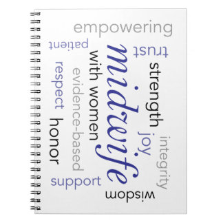 midwife word cloud spiral notebook