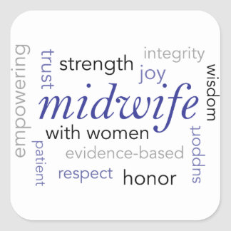 midwife word cloud square sticker