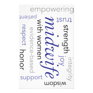 midwife word cloud stationery design