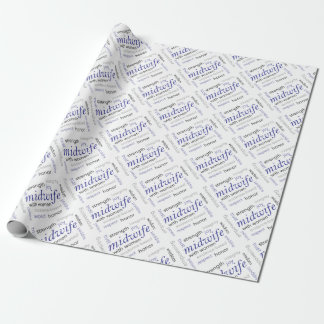 midwife word cloud wrapping paper