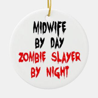 Midwife Zombie Slayer Round Ceramic Ornament
