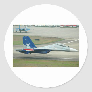 MIG FLY-BY CLASSIC ROUND STICKER
