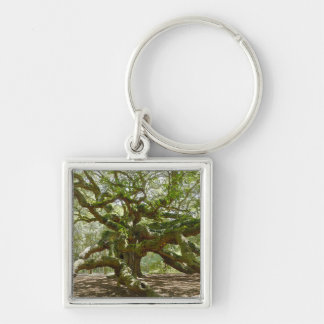 Mighty Angel Oak Silver-Colored Square Keychain