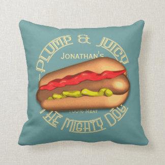 Mighty Dog Hotdog Personalized Throw Pillow
