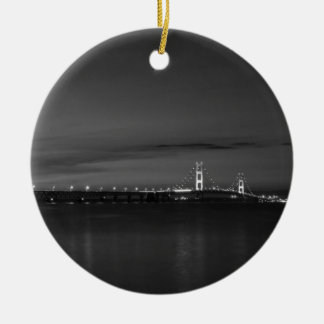 Mighty Mac At Night Pano Grayscale Ceramic Ornament