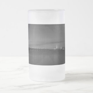 Mighty Mac At Night Pano Grayscale Frosted Glass Beer Mug