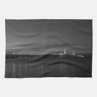 Mighty Mac At Night Pano Grayscale Kitchen Towel