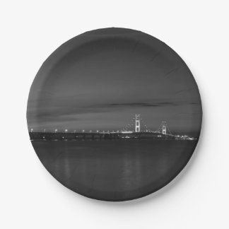 Mighty Mac At Night Pano Grayscale Paper Plate