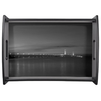 Mighty Mac At Night Pano Grayscale Serving Tray