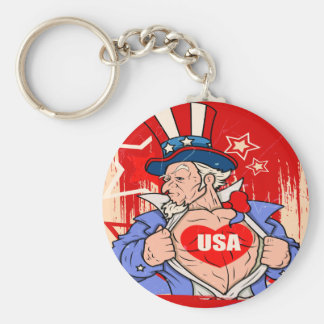 Mighty Uncle Sam Love USA Tattoo Keychain