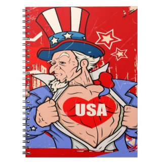 Mighty Uncle Sam Love USA Tattoo Notebooks
