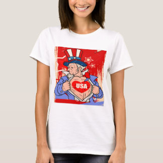 Mighty Uncle Sam Love USA Tattoo T-Shirt