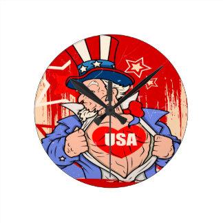 Mighty Uncle Sam Love USA Tattoo Wallclock