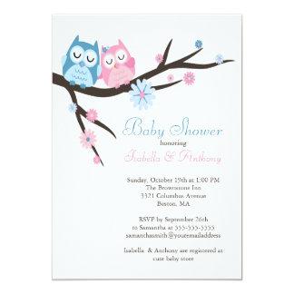 Mignon dans le baby shower de couples de hibou carton d'invitation  12,7 cm x 17,78 cm