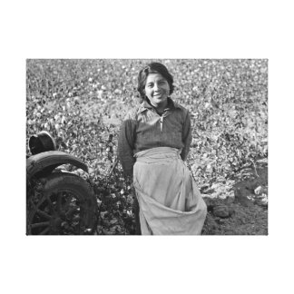 Migrant Worker in Cotton Field by Dorothea Lange Canvas Print