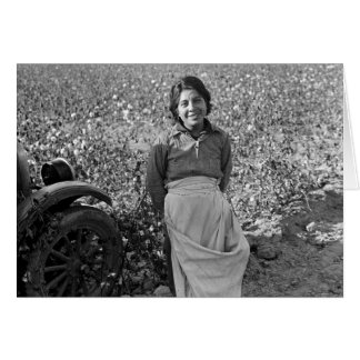 Migrant Worker in Cotton Field by Dorothea Lange Card