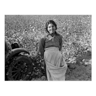 Migrant Worker in Cotton Field by Dorothea Lange Postcard