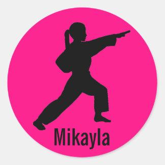 Mikayla hot pink Karate Girl stickers