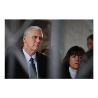 Mike Pence With Wife Karen At Dachau Poster