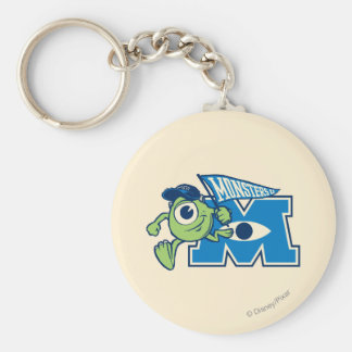 Mike with Monsters U Flag Basic Round Button Keychain