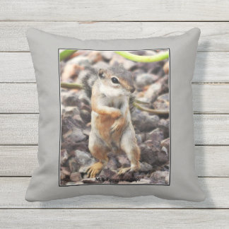"""""""Mikey"""" Ground Squirrel Outdoor Throw Pillow"""