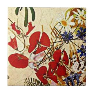 Mikhail Vrubel art: Field Flowers Tile
