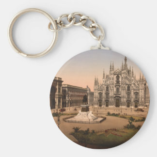 Milan Cathedral and Piazza, Lombardy, Italy Basic Round Button Keychain