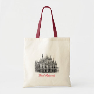 Milan Cathedral Drawing Red White Tote Bag