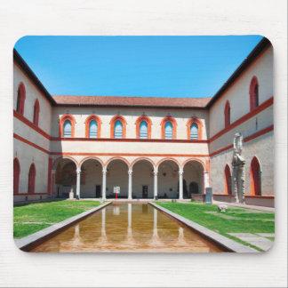 milan italy pool Sforza Castle Courtyard landmark Mouse Pad