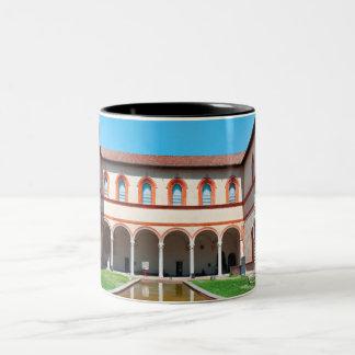 milan italy pool Sforza Castle Courtyard landmark Two-Tone Coffee Mug