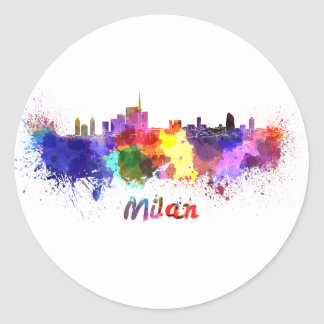 Milan skyline in watercolor classic round sticker