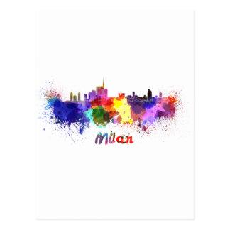 Milan skyline in watercolor postcard