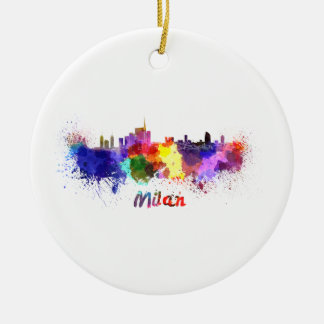 Milan skyline in watercolor round ceramic ornament