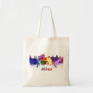 Milan skyline in watercolor tote bag