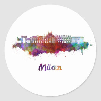 Milan V2 skyline in watercolor Classic Round Sticker