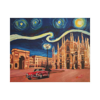 Milano cathedral with dome at Starry night Canvas Print