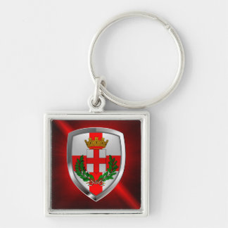 Milano Mettalic Emblem Silver-Colored Square Keychain