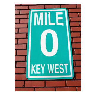 Mile Marker 0 Sign Key West  Florida Postcard
