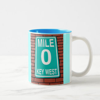 Mile Marker 0 Sign Two-Tone Coffee Mug
