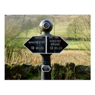 Mile marker on the Rochdale Canal Postcard