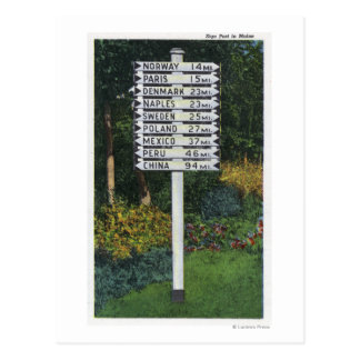 Mile Marker Sign Post Postcard
