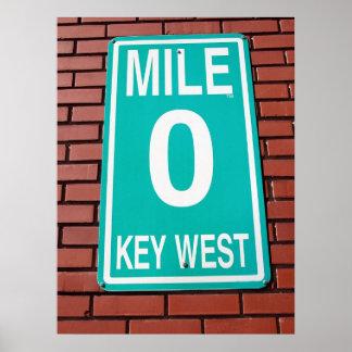 mile marker sign poster