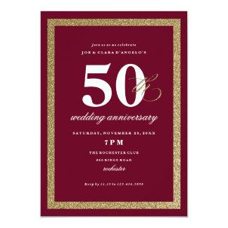 Milestone anniversary gold faux glitter invitation