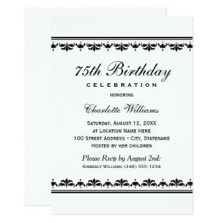 Milestone Birthday Celebration | Black Damask Card